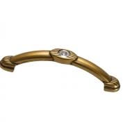 Ручка-скоба 96мм, отделка бронза античная французская + горный хрусталь 9.1302.0096.25