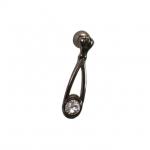 Ручка-серьга, отделка никель глянец воронёный + горный хрусталь 5.340.B32