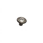 Ручка-кнопка, отделка никель глянец воронёный + горный хрусталь 10.778.B32