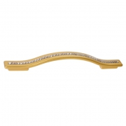 Ручка-скоба 160-128мм, отделка золото матовое + горный хрусталь 8.1110.160128.0489