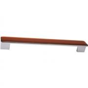 Ручка-скоба 192-224мм, отделка хром глянец + тёмно-оранжевая смола 217.374-9603/6600