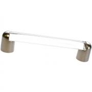 Ручка-скоба 128мм, отделка никель матовый + транспарент прозрачный 8.993.0128.30-93