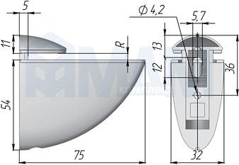NO.66CHROME ПЕЛИКАН Менсолодержатель для деревянных и стеклянных полок 4 - 29 мм, хром