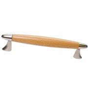 Ручка-скоба 128мм, отделка никель матовый + бук 9.1316.0128.30-90