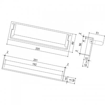 Ручка 192мм  врезная, отделка алюминий MB0.9046.00AP1