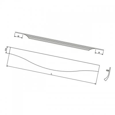 Ручка врезная 1196мм, отделка сталь шлифованная 4163201196-66