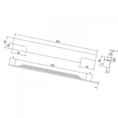 Ручка врезная 296мм, отделка сталь шлифованная 408020296-66
