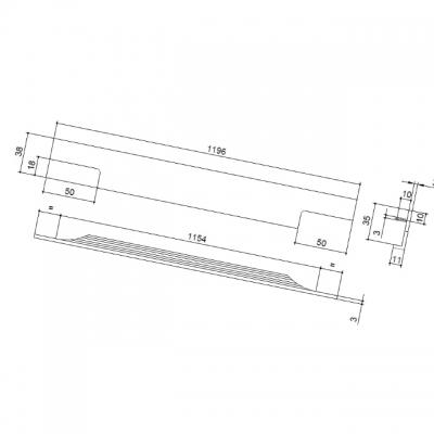 Ручка врезная 1196мм, отделка сталь шлифованная 4080201196-66