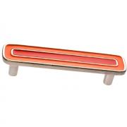 Ручка-скоба 96мм, отделка никель глянец + оранжевый+красный 15064Z0960B.X32