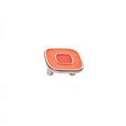 Ручка-скоба 32мм, отделка никель глянец + оранжевый/красный 24064Z0520B.X32