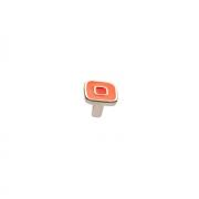 Ручка-кнопка, отделка никель глянец + оранжевый/красный 24064Z0300B.X32