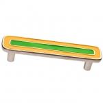 Ручка-скоба 96мм, отделка никель глянец + жёлтый+зелёный 15064Z0960B.Y32