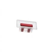 Ручка-кнопка 16мм, отделка транспарент матовый + красный 8.1069.0016.94-0472