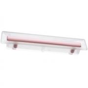 Ручка-скоба 96мм, отделка транспарент матовый + розовый 8.1069.0096.94-77