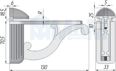 V677000BOR Менсолодержатель для деревянных и стеклянных полок 4 - 25 мм, L-115 мм, золото