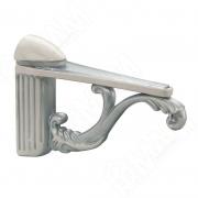 V6770000AB Менсолодержатель для деревянных и стеклянных полок 4 - 25 мм, L-115 мм, белый/серебро винтаж