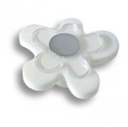 678BL Ручка кнопка детская, цветок белый