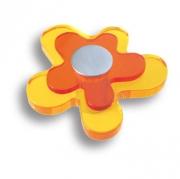 678NA Ручка кнопка детская, цветок оранжевый