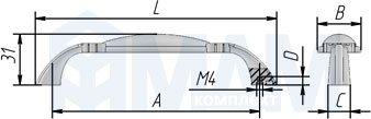 WMN.68.01.00.096.E8 Ручка-скоба 96мм серебро состаренное/керамика молочная