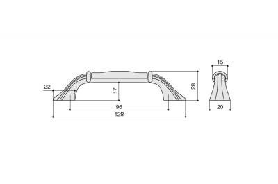 M70.X00.00.MN4G Ручка-скоба 96мм, отделка черный матовый + керамика