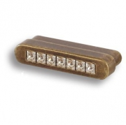 7166.0044.002 Ручка кнопка с кристаллами Swarovski, старая бронза 32 мм