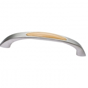 Ручка-скоба 128мм, отделка хром матовый + бук A107.DC/HV