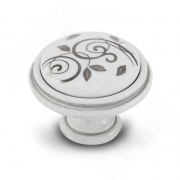 WPO.77.00.M2.000.V4 Ручка-кнопка D35мм белый/серебро винтаж керамика серебряные узоры
