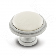 WPO.77.01.00.000.V4 Ручка-кнопка D35мм белый/серебро винтаж керамика