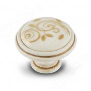 WPO.77.01.M1.000.V5 Ручка-кнопка D35мм cлоновая кость/золото винтаж керамика золотые узоры