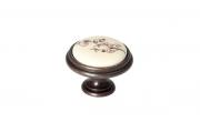 """P77.Y01.S1.MD1G Ручка-кнопка, отделка бронза античная """"Флоренция"""" + керамика"""