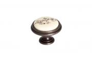 P77.Y01.G1.MB1G Ручка-кнопка, отделка бронза темная + керамика