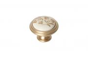"""P77.Y01.H3.MR8G Ручка-кнопка, отделка золото матовое """"Милан"""" + керамика"""