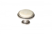 P77.Y01.G4.ME8G Ручка-кнопка, отделка старое серебро с блеском + керамика