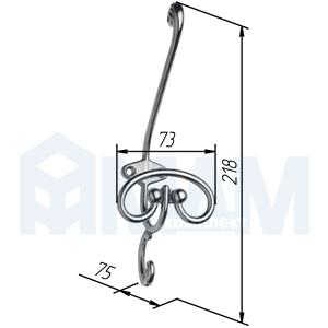 7707A00.21OV Крючок трехрожковый бронза состаренная