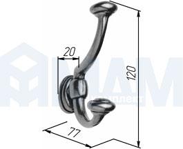 7711000.21OV Крючок двухрожковый бронза состаренная