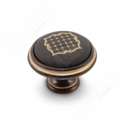 WPO.77.23.S1.000.1BG Ручка-кнопка D35мм черный/золото керамика золотые узоры