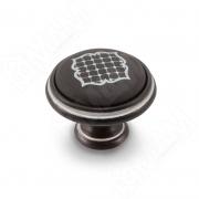 WPO.77.23.S2.000.1CG Ручка-кнопка D35мм черный/серебро керамика серебряные узоры