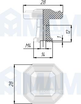 WPO.775.000.00E8 Ручка-кнопка серебро состаренное