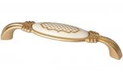 """M78.X01.S1.MR8G Ручка-скоба 128мм, отделка золото матовое """"Милан"""" + керамика"""