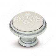 WPO.781.000.00V4 Ручка-кнопка D35мм белый/серебро винтаж, керамика белые узоры