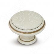 WPO.781.000.00V5 Ручка-кнопка D35мм cлоновая кость/золото винтаж, керамика белые узоры
