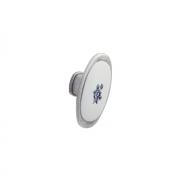 Ручка-кнопка, отделка серебро старое + вставка 24077.M62P.605.14M.BLU