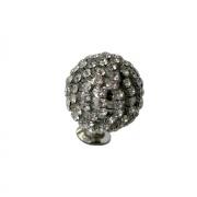 Ручка-кнопка, отделка никель глянец + горный хрусталь PS.01.XE.22