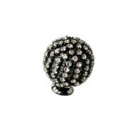 Ручка-кнопка, отделка никель воронёный глянец + горный хрусталь PS.01.XE.43