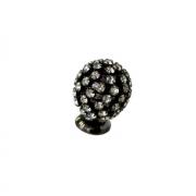 Ручка-кнопка, отделка никель воронёный глянец + горный хрусталь PS.01.XA.43