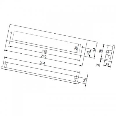 Ручка врезная 192мм, отделка титан + хром матовый лакированный 8.1005.0192.0505-42