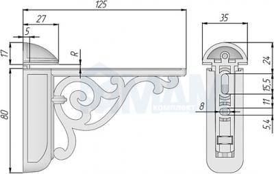 WRM.805.125.00AN VENICE Менсолодержатель для деревянных и стеклянных полок 4 - 40 мм, L-125 мм, серебро состаренное