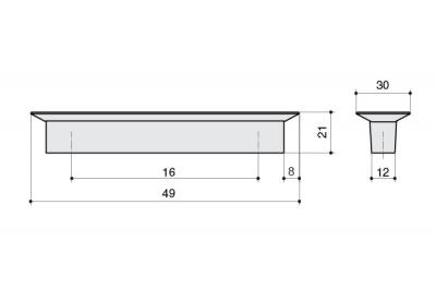 MC 8.1069.0016.94-0473 Ручка-кнопка 16мм, транспарент + синий