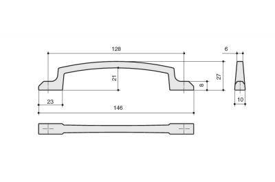 8.1130.0128.35 Ручка-скоба 128мм, отделка никель глянец шлифованный