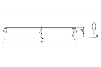 8.1134.0064.35 Ручка-скоба 64мм, отделка никель глянец шлифованный